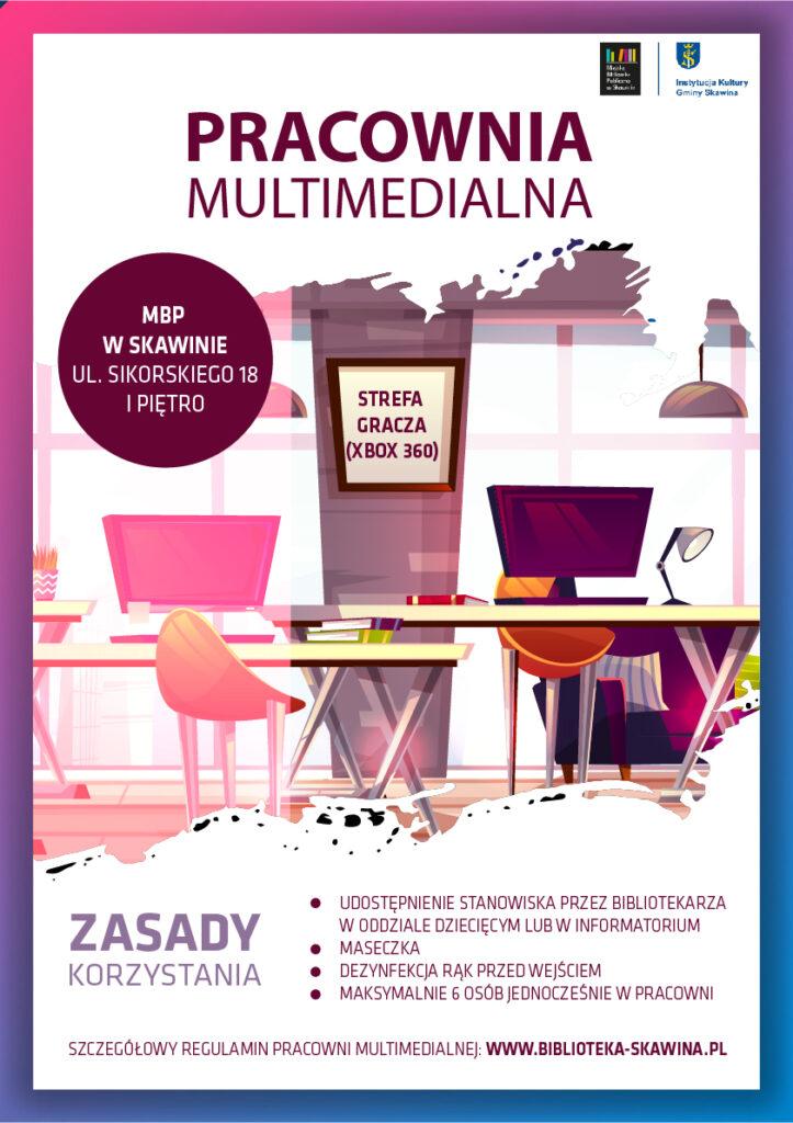 Plakat z zasadami korzystania z pracowni multimedialnej.